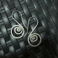 Earrings Hill Tribe Fine Silver Round Spiral Bridal Theme er016