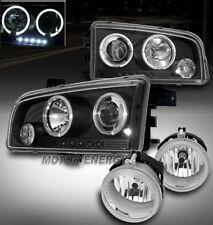 06-09 DODGE CHARGER HALO LED BLACK PROJECTOR HEAD LIGHT W/CHROME DRIVING FOG KIT