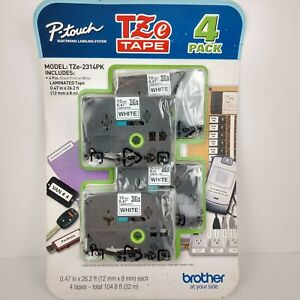 Brother 4 Value Pack P-Touch Tape (TZe2314PK) - Black Print on White Label NOS