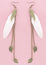 F1931 fashion white Feather bronze leaf chain light dangle earrings New Hot