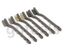6PC Wire Brush Set Toothbrush Type Burnishing Scratch Brush Brass, Nylon & Steel