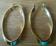 T02 Real gold filled oval creole hoop earrings 43 x 23 x 2.5mm GIFT BOXD Plum UK