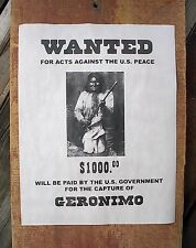 "(755) OLD WEST OUTLAW GERONIMO APACHE INDIAN $1000 REWARD REPRINT POSTER 11""x14"""