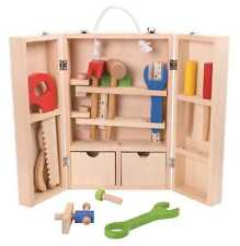 Wooden Toy Tool Set for children, 33 Piece kids tool kit in wooden carry case