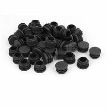 50pcs 22mm Dia Plastic Blanking End Cap Round Ribbed Tube Insert Black