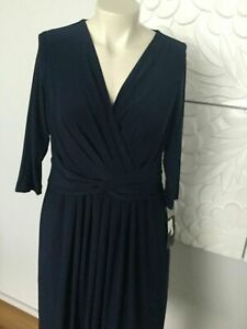 14w 18 / 20 NAVY FAUX WRAP BODICE PLEATED TWISTED FRONT DRESS MOTHER OF BRIDE