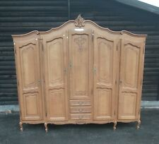 Vintage French Louis XV Style Carved Oak 5 Door Wardrobe/Armoire - (11757)