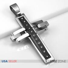 Men's Stainless Steel 3D Punk Heavy Duty Big Large Cross Pendant Cool Black P64