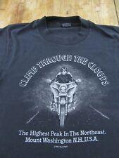 Vintage '85 Mount Washington N.H. Motorcycle Ride Souvenir Black T Shirt Size S