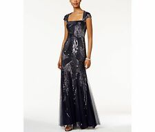 Adrianna Papell Sequined Cutout-Back Gown Size 6 #D20 MSRP $340.00