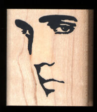 ELVIS PRESLEY Mysterious Eyes RUBBER STAMP Elvis Portrait Wood Mounted New