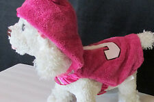 Juicy Couture Plush Pink Hooded  Ears Velcro Fasten Pet Dog Jacket S-M New TAGS