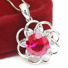 4.8ct Flower Pigeon Blood Ruby Flower Necklace Pendant Solid Sterling Silver Hot