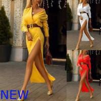 Long Sleeve V Neck Party Cocktail Dresses Evening Maxi Casual Womens Boho Dress