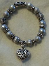 Large authentic light gray Pearl and silver tone stretchy heart bracelet nice