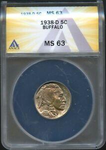 1938-D ANACS MS63 Buffalo Nickel
