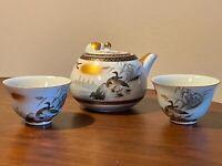 Antique RARE SIGNED KUTANI JAPANESE TEAPOT & 2 CUPS Birds Wildlife Red Mark