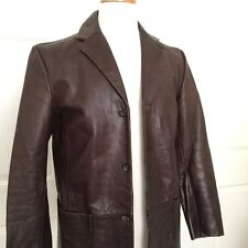 BANANA REPUBLIC Distressed Leather Jacket Mens 3 Button Blazer Brown Vintage 90s