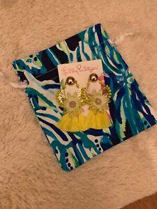 NWT Lilly Pulitzer Capri Soleil Pierced Earrings Pineapple Twist