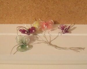 "VINTAGE SET 5 1"" Mesh PASTEL BUTTERFLIES Craft W/PEARL ACCENTS"