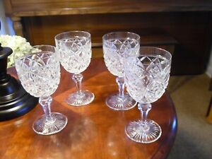 SET OF FOUR CUT LEAD CRYSTAL GLASS WINE STEMS PRISTINE NEVER USED