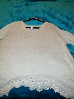 Bongo Plus Size 1x gray sweater Blouse Top Shirt w/crocheted rounded hem accent.