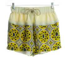 SEA NEW YORK Beige & Yellow Silk Print Shorts Size 4