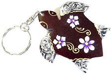 Porte clé clef Tortue Bois Artisanal Fleur wooden key holder Turtle cle