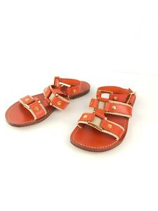 Tory Burch Womens Sandals Orange Canvas Leather Strap Flat Gladiator Size 6