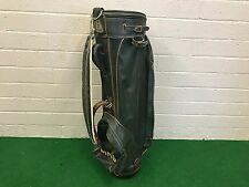 "RARE Vintage PING GOLF GREEN CART BAG Leather Vinyl THIN 8"" Gold STAFF 1980's"