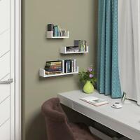 Floating Display Ledge Shelves Set of 3 Wall Mount Storage Bookshelf Holder Rack
