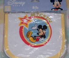 Disney Baby Mickey Infant Bib yellow trim New~* Free Ship*~ Mickey