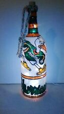Miami Hurricanes Inspiered Bottle Lamp Hand Painted Stained Glass Look