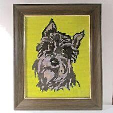 """Needlepoint scottie/scotty/schnauzer dog framed w glass 12.5""""x10.5"""" áµ— h2"""