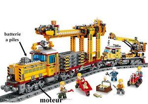 gros train électrique poseur de rails compatible lego briques neuf