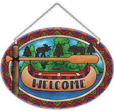 Joan Baker Designs WELCOME CANOE & PADDLE Large Oval Suncatcher Painted Glass