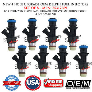 NEW 4 HOLE OEM Delphi 8X Fuel Injectors for 2001-07 Cadillac,Hummer,Chevy,GMC V8