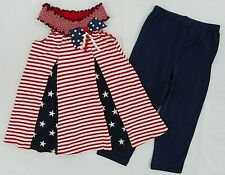 Girls Good Lad $42 Red White & Blue Patriotic Dress Top & Leggings Sizes 4 - 6X