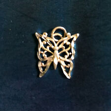 S Silver Butterfly  diamond cut 2g Charm Or Necklace MINT