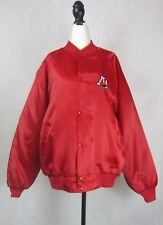 Vintage Red Satin Baseball Jacket,1990s, Made in the USA, Size L