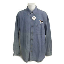 Your Breed Ultraclub Men's Embroidered Beagle Dog Chambray Button Down Shirt L