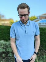"""Fred Perry 38"""" S Blue Polo Shirt Men's White Twin Tipped Motif Logo Short Sleeve"""