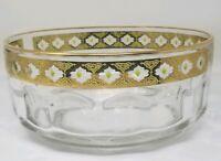 Vintage Arcoroc France Valencia Crystal Bowl 22K Gold Trim Green Glass Diamonds