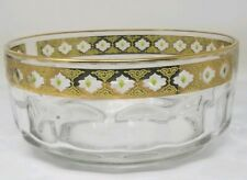 Vintage Arcoroc France Valencia Crystal Bowl 22K Gold Trim Green Glass Diamonds