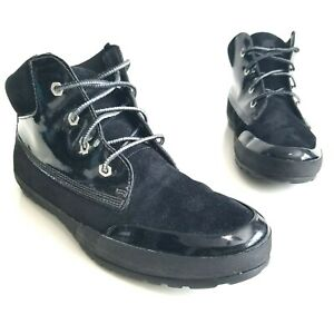 Timberland Hiking Boots Black Suede Patent Leather Flat Shoe Lace Up Womens Sz 7
