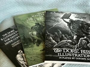 Lot of 3 Books: The Plates of Gustave Dore: The Bible, Divine Comedy, Crusades