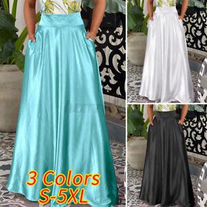 Womens A Line Skirts Oversized Maxi Long Skirt Dress Party Club Satin Skirts UK