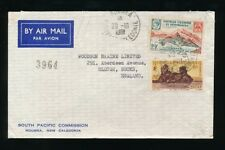 NEW CALEDONIA 1961 AIRMAIL SOUTH PACIFIC COMMISSION ENVELOPE 19F + 6F to GB