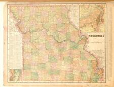 Beautiful Original 1899 Missouri Large Color Map/10x14
