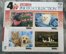 SURE-LOX PUPPIES KITTENS Photo Collection 4x1000 Pc Jigsaw Puzzles NEW READ INFO